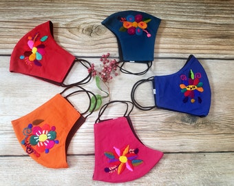 Embroidered breathable cotton masks / Ethnic Reusable masks/ Double layer mask with sewn filter/ Washable Unisex adult/ kids masks