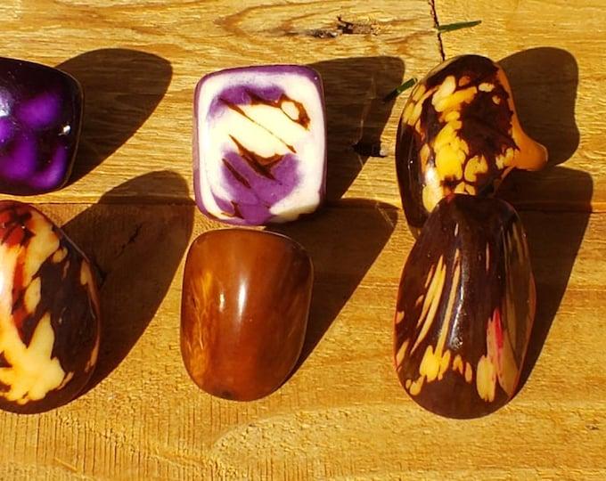 Tagua nut SIZE 6.5 Glossy rings marble semi peeled nut