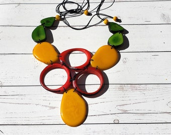 Wild FLora Statement Yellow green Tagua necklace/ Bold jewelry/Tropical necklace/Tiki and resort beach  jewelry by  Allie