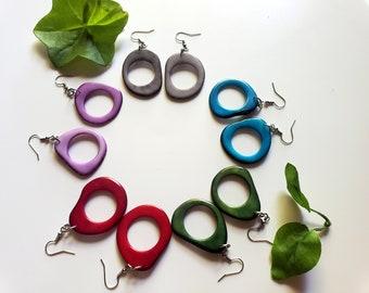 Colorful Dangle Hoop Earrings/ Tagua Earrings / Tagua donut earrings/Eco Friendly Earrings/Rings earrings