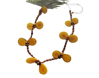 Yellow petals tagua necklace/Tagua botanical statement long necklace/Boho Nature inspired necklace/Gifts for her