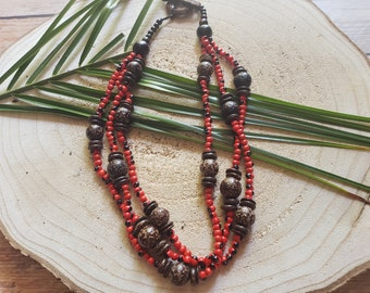 Rainforest Tribal necklace/Bohemian Layered red necklace/Seeds and coconuts Organic jewelry/Evil eye necklace