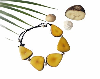 Tagua plantain shaped woven bracelet/Ecofriendly wooden bracelet/Boho woven macrame bracelet/Ethnic global bracelet/Rainbow bracelet