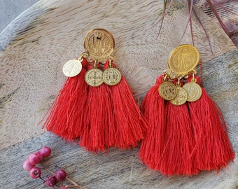 Red tassel earrings/ Fan tassel earrings/ Saint Christopher gold medals tassel earrings/ Religious Earrings/ Faith earrings/gifts for Mom