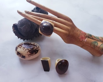 Tagua nut SIZE 6.5 Rings/ Vegetable ivory rings/ /Rustic nut rings /Wood rings/Statement bold rings/ecofriendly rings/Oversized big rings