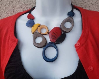 Tagua necklace winter blues multicolor bib geometrical necklace/  by Allie