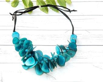 Maui tropical tagua nut petals necklace