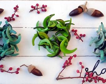 C shaped rustic tagua nut bracelets spring colors/chunky bracelets/custom bracelets/cuff bracelets/ handmade bracelets/ elastic bracelets/
