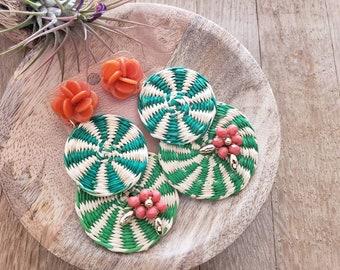 Statement straw big earrings/ Super long straw and tagua earrings/Green Earrings/Rattan earrings/Summer OOAK earrings/Spring floral earrings