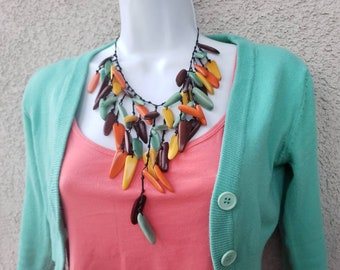 Tagua waterfall aqua necklace/ multicolor necklace/ statement necklace/leaves necklace/chunky necklace by Alliw