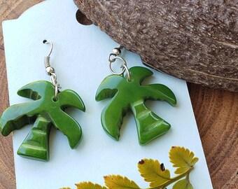 Tropical earrrings/ Birds earrings/  Palm tree earrings/ Beach Earrings/ Tiki earrings/ cute gifts/ cool gifts ideas/ Eco jewelry by Allie