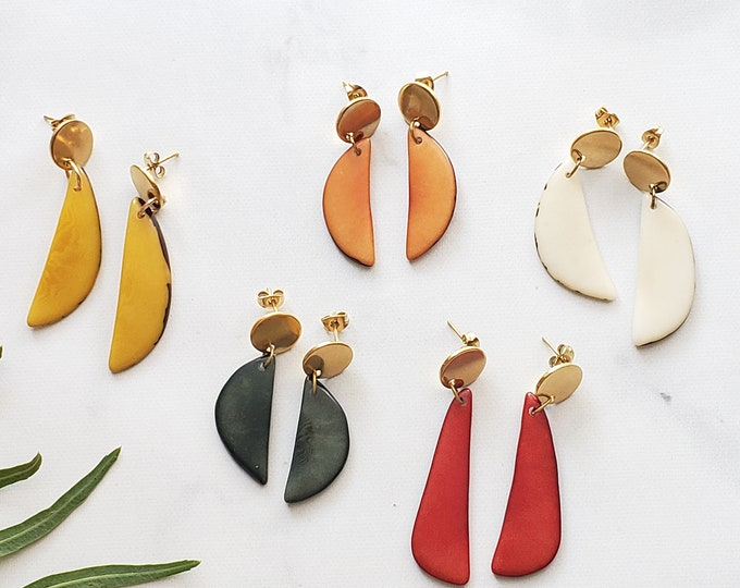 Featured listing image: Tagua crescent moon earrings/ Leaf Dangle earrings/surgical  steel gold post tagua earrings/Colorful minimalist earrings/Everyday earrings