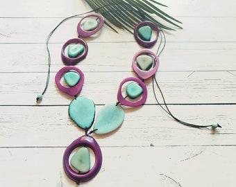 Rainforest Selva Tagua nut Aqua necklace / Bold Medallions necklace/Handmade jewelry/Statement necklace/Organic ecofriendly necklace