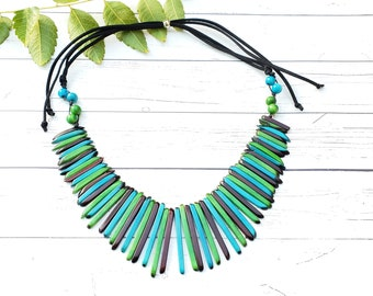 Tiki Picky, tagua statement  necklace set/ collar spiked necklace/ aqua necklace/ beach jewelry