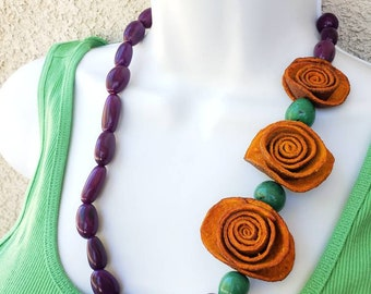Orange peels Purple necklace/Statement flower Tagua necklace/ Oil Diffuser jewelry/ Aromatherapy necklace/ Recycled Orange jewelry