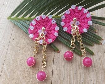 Statement straw pink earrings/Summer Earrings/ Woven Rattan wicker earrins/Wire wrap woven earrings/Gold & straw OOAK earrings