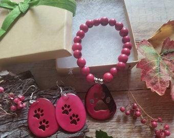 Jewelry set for pet parents/ Paw print set in Tagua earrings& Bracelet/ Pet parents Christmas gift ideas/Cat mom jewelry Gifts for dog lover