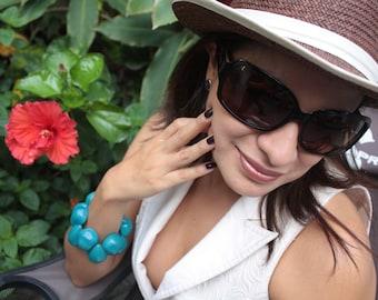 Chunky Tagua bracelet/ Drops bracelets/ Bold chunky cuff/ Statement cuff/ Stretch Bracelets/ Colorful Bracelets/ Hippie Chic Bracelets