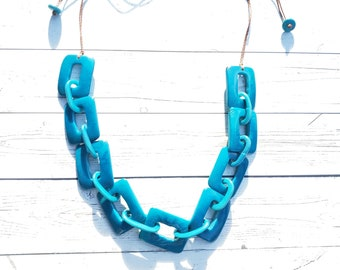Square chain  tagua necklace / turquoise or red necklace by Allie