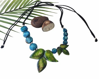 Leaves tagua blue necklace/ Asymetrical  blue necklace/Beaded ethical jewelry/Gifts for mom/Ecofriendly necklace/Handmade statement jewelry
