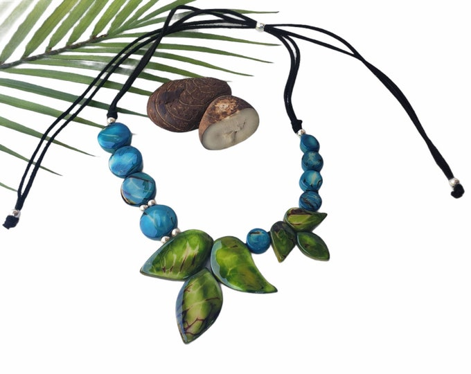 Featured listing image: Leaves tagua blue necklace/ Asymetrical  blue necklace/Beaded ethical jewelry/Gifts for mom/Ecofriendly necklace/Handmade statement jewelry