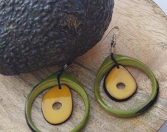 Forbidden fruit avocado earrings green earrings/tagua earrings/by Allie