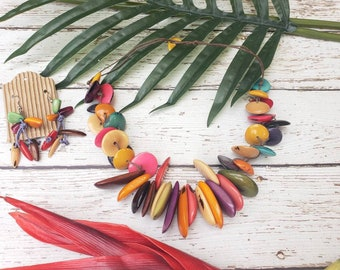 Tagua Chunky rainbow necklace/Statement necklace/ Hawaii Princess necklace/Beach jewelry/ Resort necklace/ Islander Tiki jewel/Gifts for her