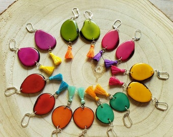 Colorful Dangle Earrings/ Tagua &Tassel Earrings / Bohemian Earrings/Eco Friendly Earrings/Teal green/ Yellow/ Orange  Earrings/ by Allie