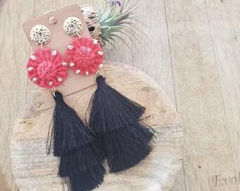 Straw & black tassels earrings/Straw OOAK earrings/ Super long tiered Tassels earrings/Beach jewelry/Gifts for mom/ Handmade unique jewel