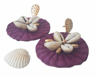 Statement OOAK  plum straw earrings / Rattan handmade earrings/ Wicker disks earrings/Shells earrings/Beach earrings/Ocean beach jewels