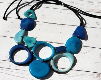 Geometric Tagua Blues bib necklace / Colorful jewelry/Pink Purple necklace bib/ Eco friendly jewelry /By Allie