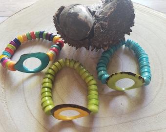 Caterpillar tagua bracelet/ Stretchy bracelets/Bold Tagua bracelets/Colorful gusanitos bracelet / Cool gifts/Stackable bracelets