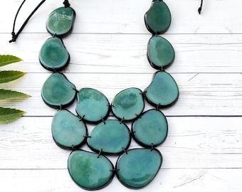 Tagua Jade green necklace/Statement bib necklace/ Fuchsia bib bold necklace/Purple Necklace/ by Allie
