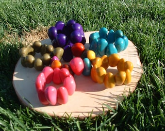 Tagua drops chunky bracelet many colors/tagua jewelry/tagua nut