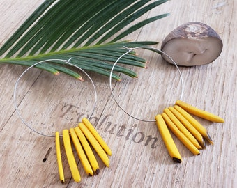 Big hoops tagua statement earrings/Boho Earrings/ Big spiked minimalist earrings/Colorful earrings/Spiked hoop earrings/Dangle big  earrings