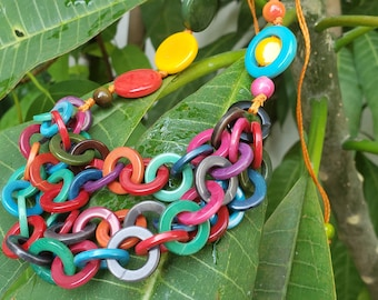 Tagua rings asymmetrical layered necklace 80s inspired for Tiki Oasis