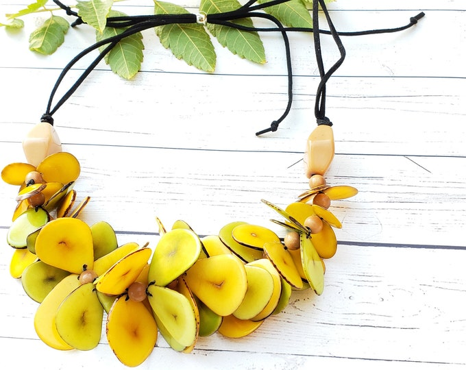 Featured listing image: Maui Tagua yellow chunky statement necklace/Mothers day gifts/ Hawaiian Jewelry/Jewelry sets/ Tropical jewelry