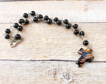 Rosary style necklace/  tagua necklace/ by Allie/cros necklace/catholic jewelry/christian jewelry/religious jewelry