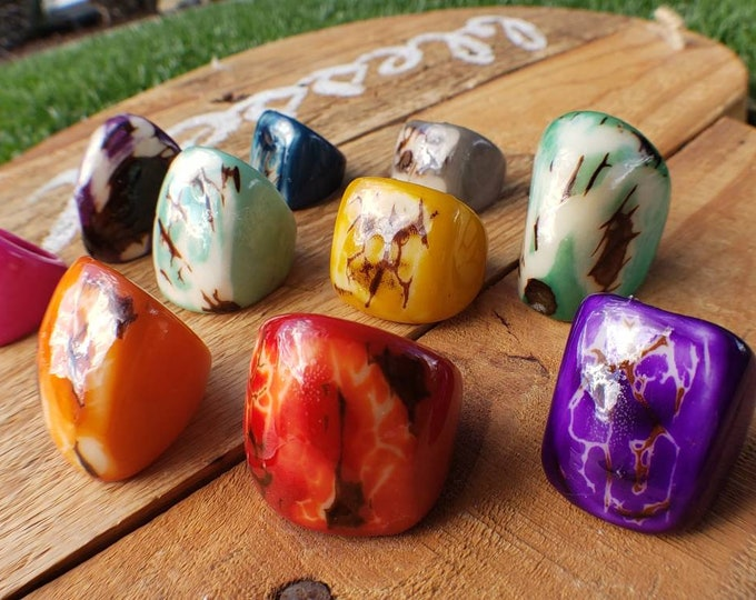 Tagua nut SIZE 8.5 Glossy rustic rings semi peeled nut