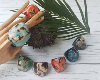 Tagua nut rings SIZE 10/ Rustic Rings/Chunky Rings/Nut wooden Rings/ Raw Rings/ Ecofriendly nut rings/Statement big bold oversized rings