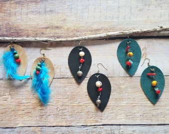 Colorful Leather Leaf Earrings/ Tagua & Leather Earrings/Dangle Earrings/Long earrings/Boho earrings/Mixed media earrings/Wire wrap earrings