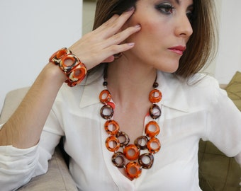 Infinity rings necklace/ Tagua burned orange necklace/  Statement necklace TAGUA bib/ Rustic necklace/By ALLIE