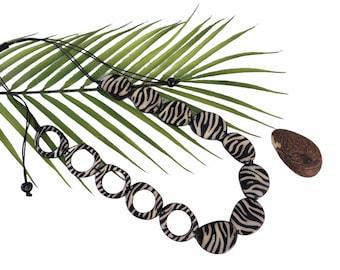 Tiger print statement necklace/Tiger necklace/Animal print necklace/ Tribal necklace/ African tribal necklace/Tagua black white necklace