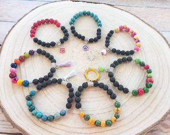 Essential Oil Diffuser bracelet/Yoga Jewelry/Colorful beaded bracelets/Chakra jewelry/Lava and acai berry bracelets/Good karma jewelry