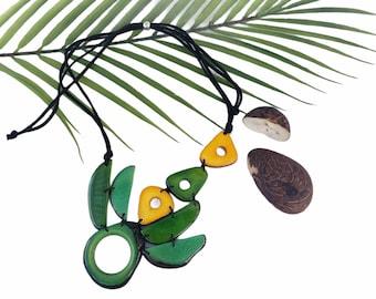 Tagua asymmetrical necklace/ Minimalistic Bib Taguanecklace/Corona symbolic necklace/Botanical OOAK ecofriendly jewelry