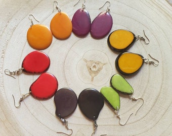 Colorful Dangle Earrings/ Tagua slices Earrings / Ethnic Boho Earrings/Eco Friendly Earrings/Simple everyday Earrings/ Drop earrings
