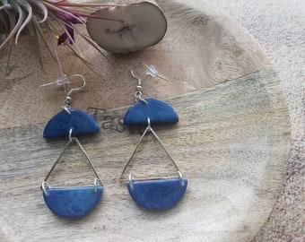Tagua Triangles dangling Earrings/ Tagua long moon earrings/ Geometric long ecofriendly earrings/ Sterling silver tagua earrings/Green jewel