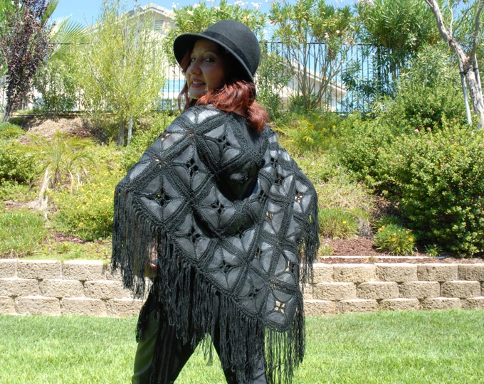 70S Vintage leather crochet poncho handmade spanish or Western style O/S Black or brown