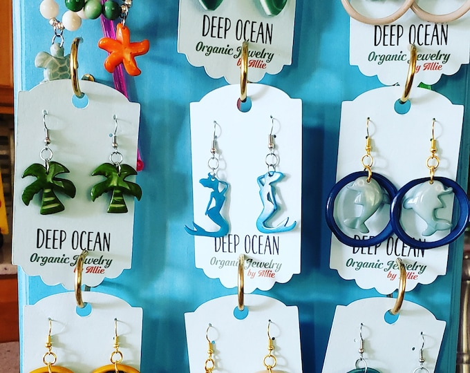 Tagua sea life carved earrings/ tagua earrings/sea horse/sea turtle/sea stars/dolphin earrings/whale tail earrings/ sharp earrings/mermaid