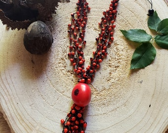 Boho Red Tagua necklace/  Tassel necklace/ Rustic Necklace/ Rainforest Tribal  necklace/ Seeded Eco friendly necklace/Evil Eye necklace